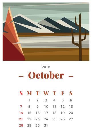 Oktober 2018 Månadskalender