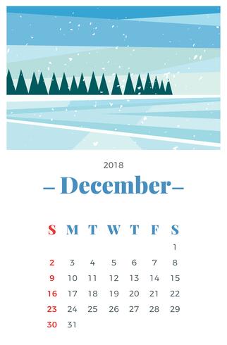 December 2018 Maandelijkse kalender