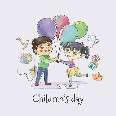Cute Children Dancing With Balloons for Children's Day Vector
