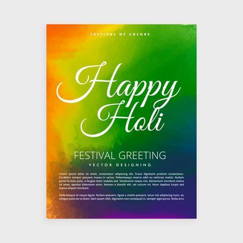 cartel de holi feliz colorido