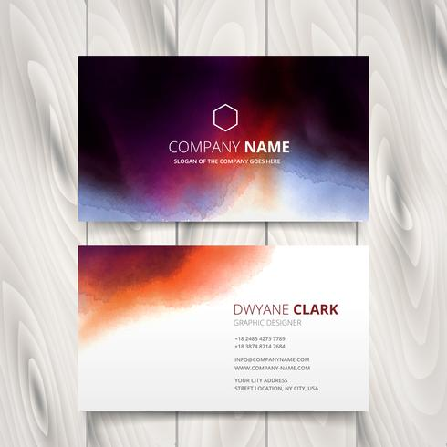 ink watercolor business card vector design illustration