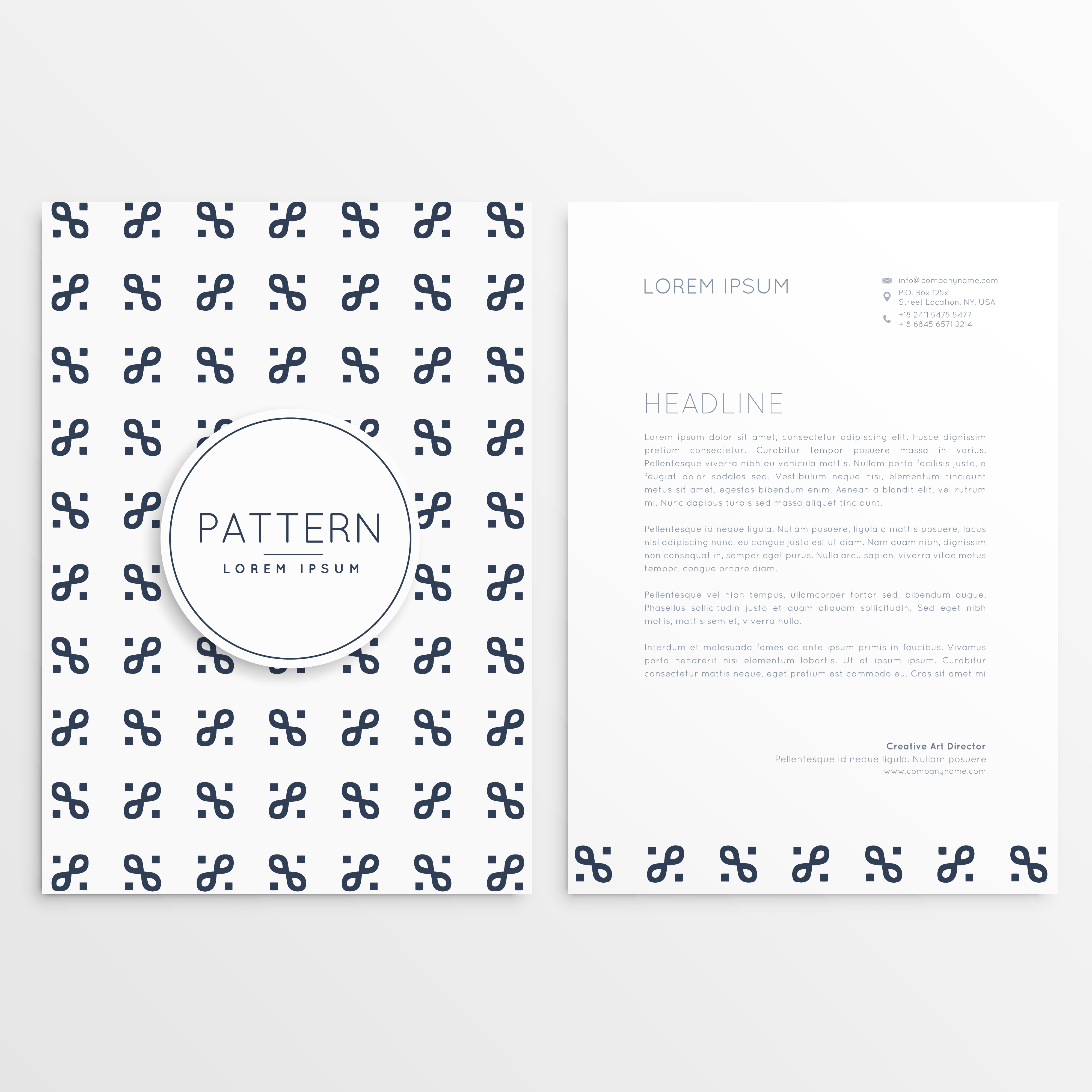 Clean Corporate Letterhead Template: Company Letterhead Design With Clean Pattern