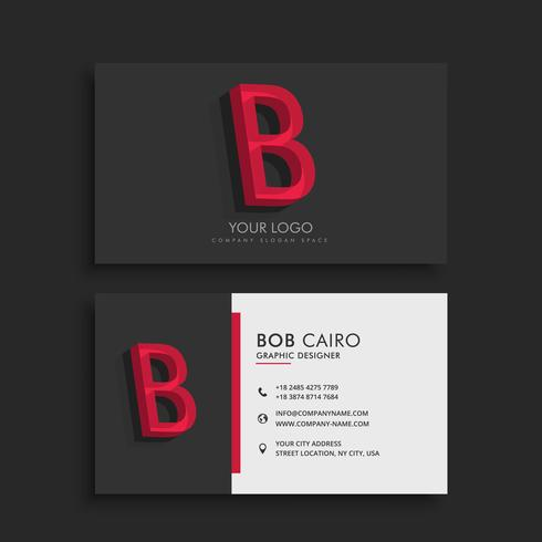 clean dark business card with letter B