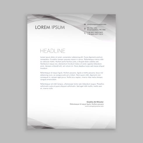wave style business letterhead  template vector design illustrat
