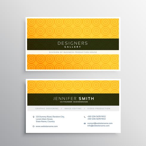 yellow minimal elegant business card template with circles patte