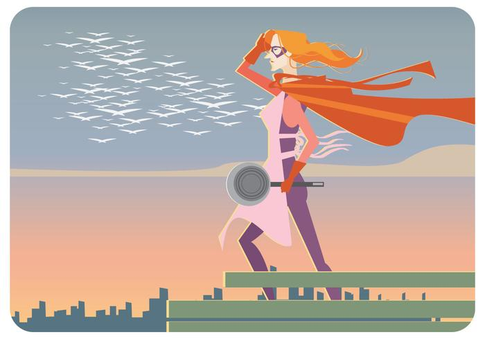 Super-Cooker Woman Vector