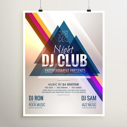 creative club music party event flyer template with abstract sha