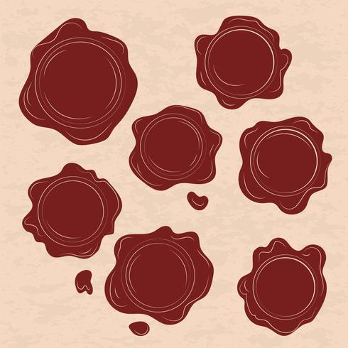 Ensemble de vecteurs de timbre de cire rouge