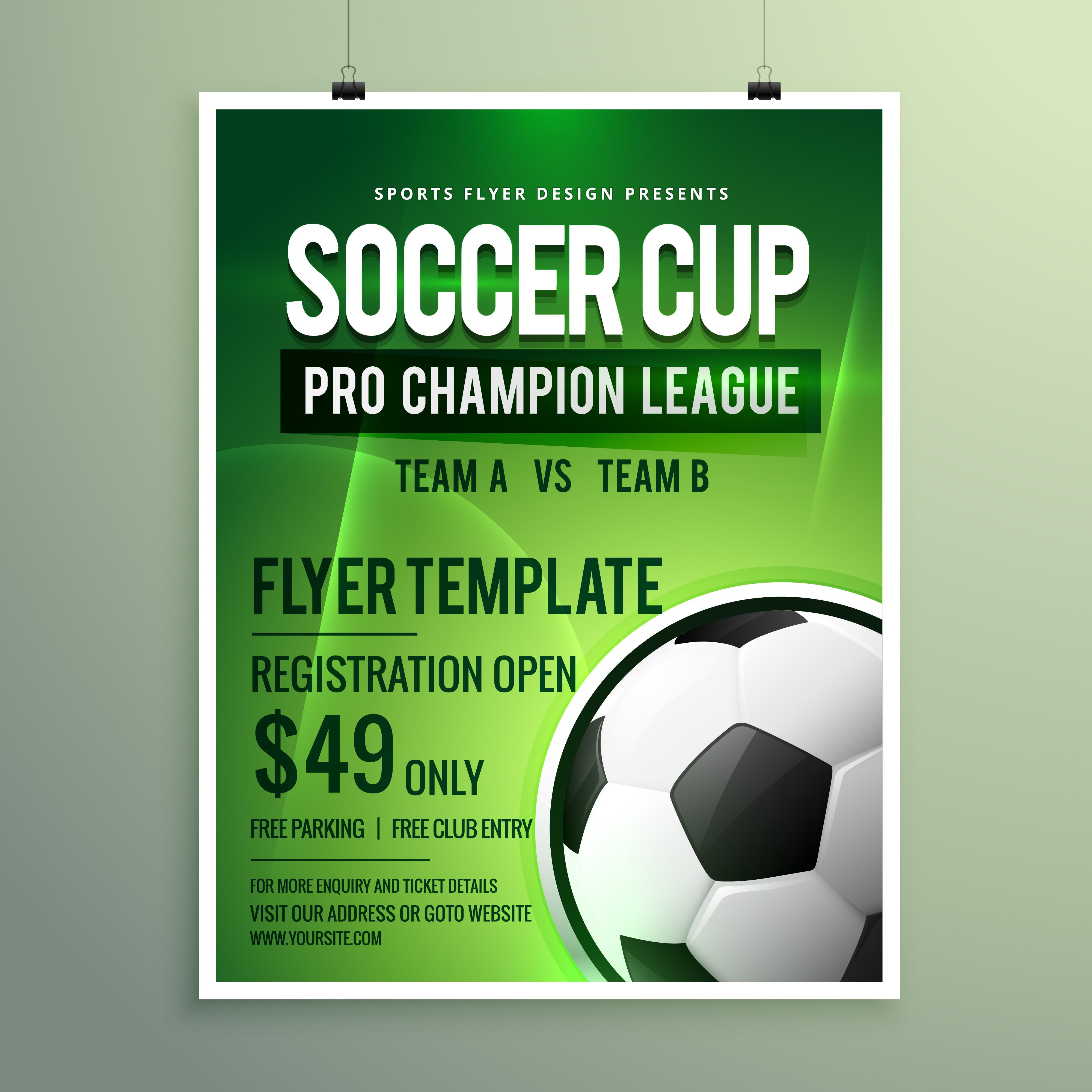 Soccer League Sports Event Flyer Design Download Free Vector Art