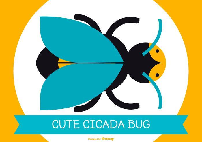 Söt Flat Style Cicada BugIllustration