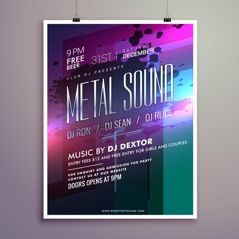 abstract music flyer template for new year celebration
