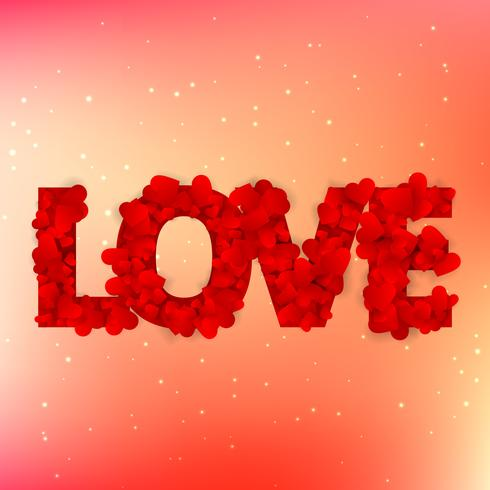 love text written with hearts vector design illustration