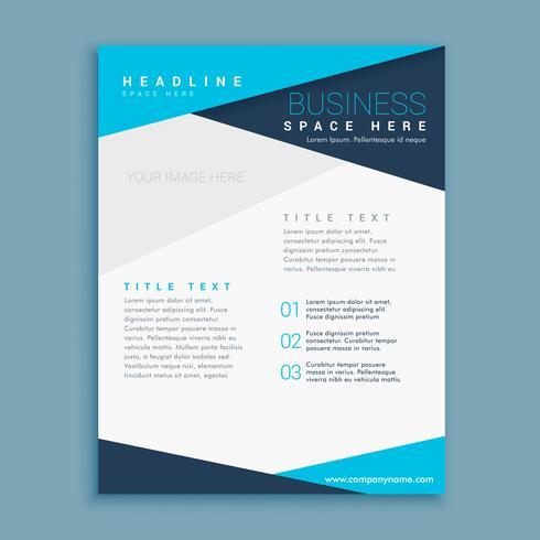 conception de brochure de forme minimale bleue
