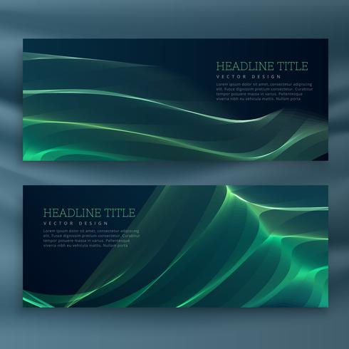 abstract green wavy banners set