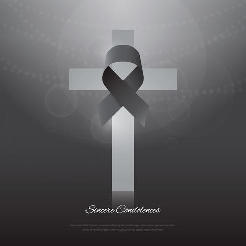 Elegant begravningskort med svart band och vitt kors.