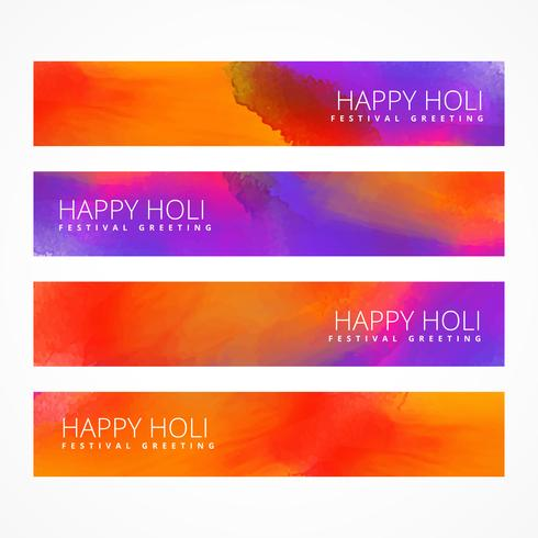 colorful holi banners set