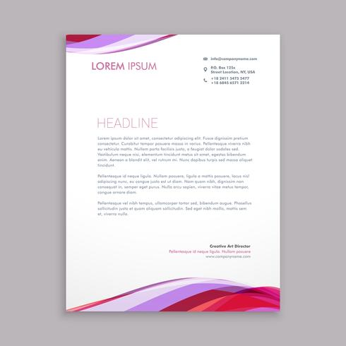 wave letterhead business template vector design illustration