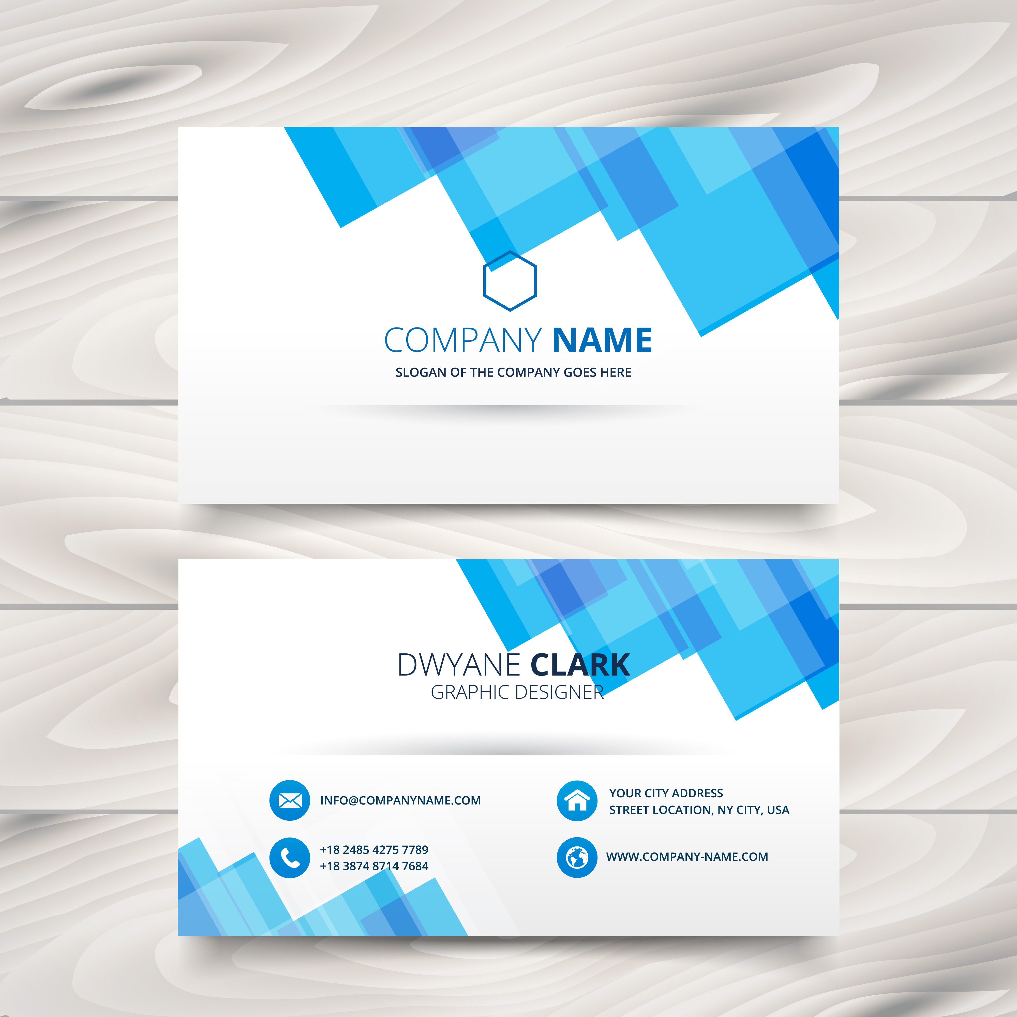 clean white and blue business card template design