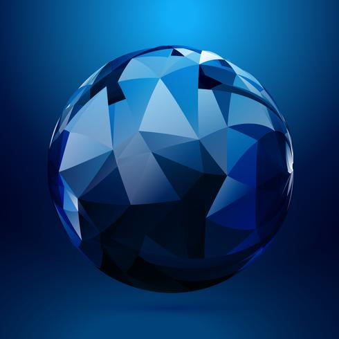 3d sphere made with geometrical shapes vector design illustratio