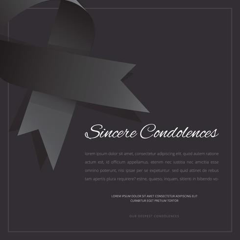 Elegant Funeral Card with Black Ribbon Editable Template Greetings Illustration.