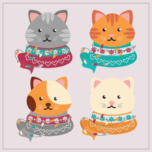 Vector Christmas Cats