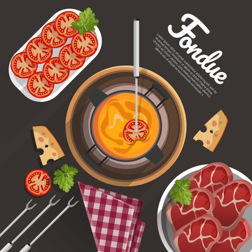 Fondue Mat Vektor Illustration Koncept