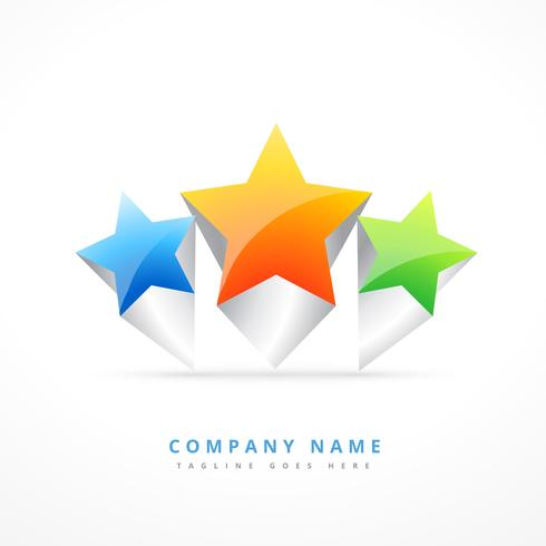 three star logo template design illustration