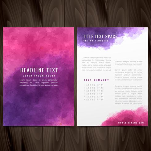 creative watercolor brochure flyer design illustration