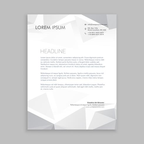 beautiful low poly letterhead  template vector design illustrati