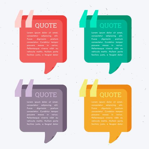 set of colorful four chat bubbles with quotation mark