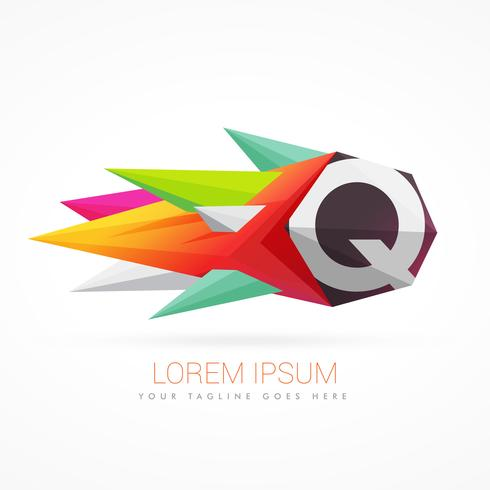 colorful abstract logo with letter Q