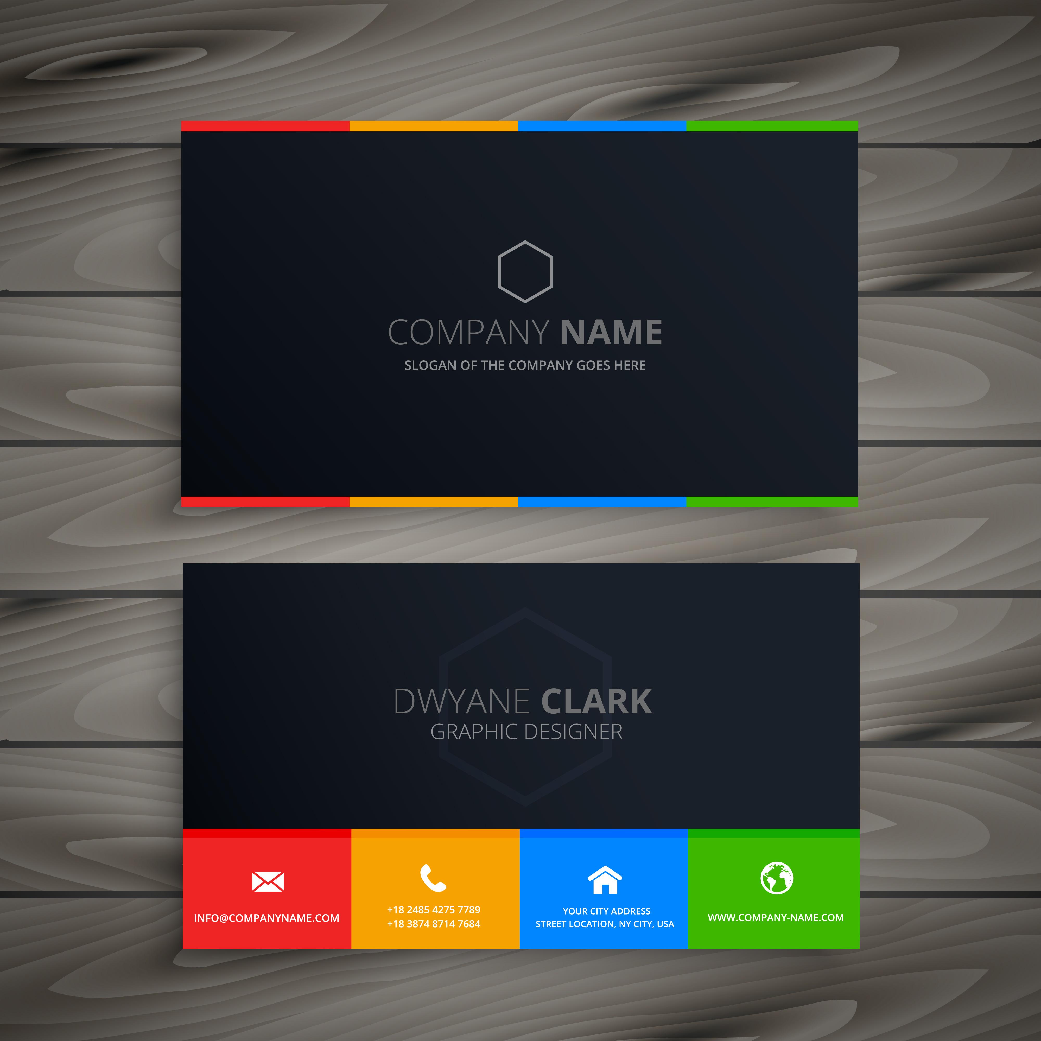 dark clean business card template vector design illustration ...
