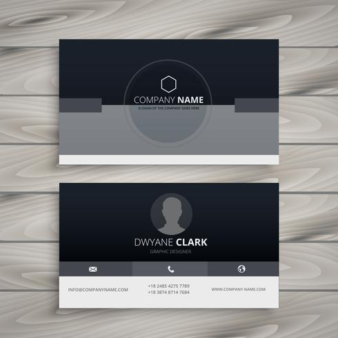 dark minimal business card vector design illustration