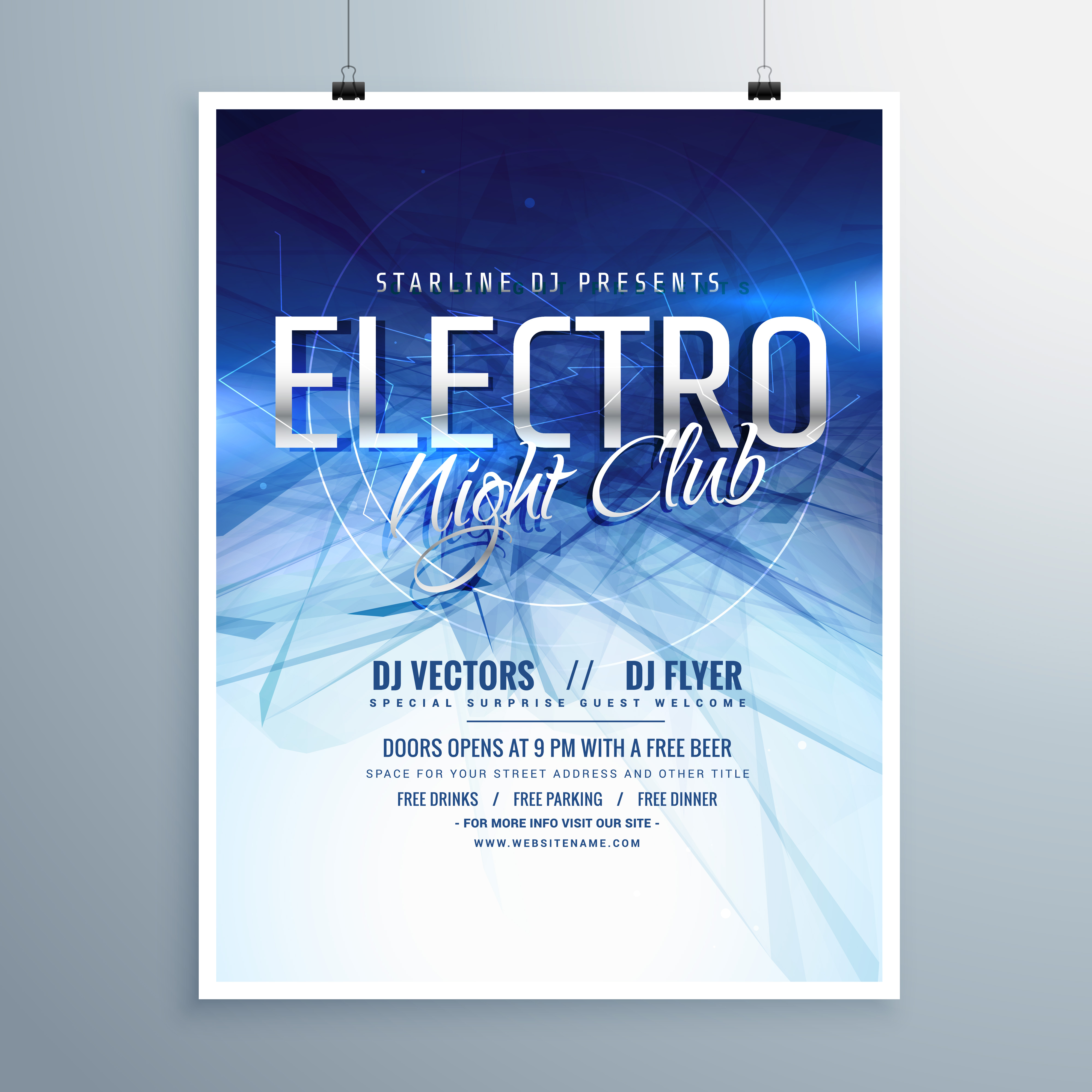 Electro Night Club Party Flyer Poster Template   Download Free Vector Art,  Stock Graphics U0026 Images