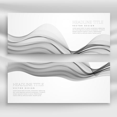 abstract wavy banners template in gray color