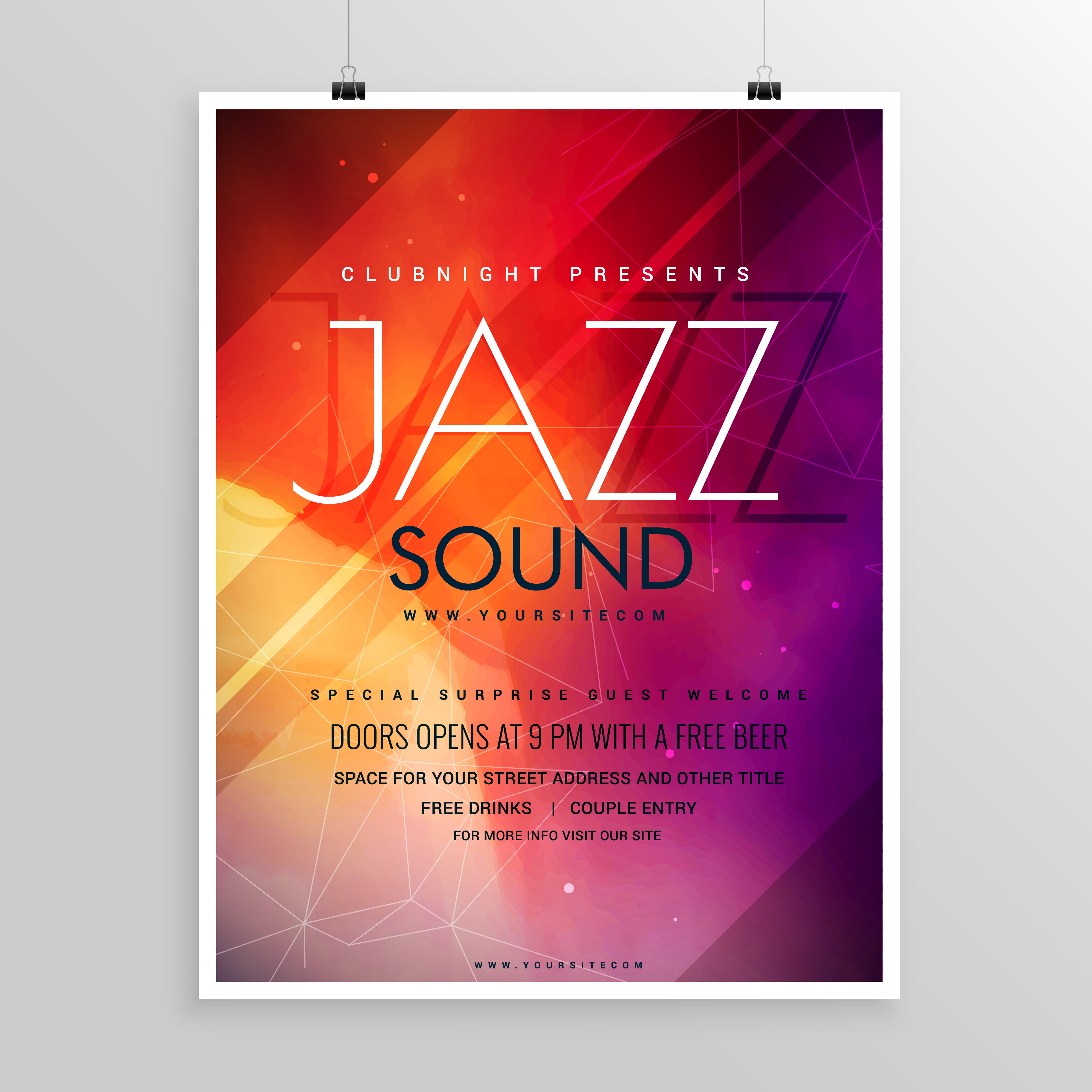 music sound party flyer invitation template - Download Free Vector ...