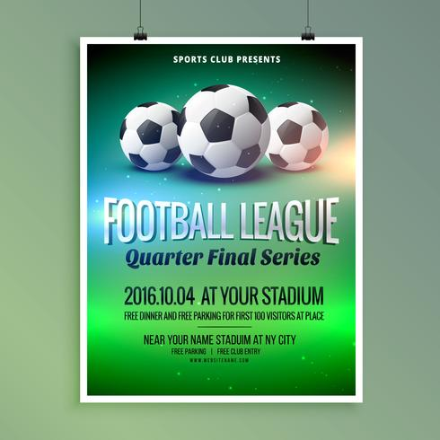 football soccer league event flyer poster design template