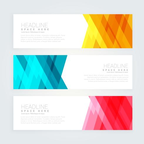 abstract banners set with geometric shapes