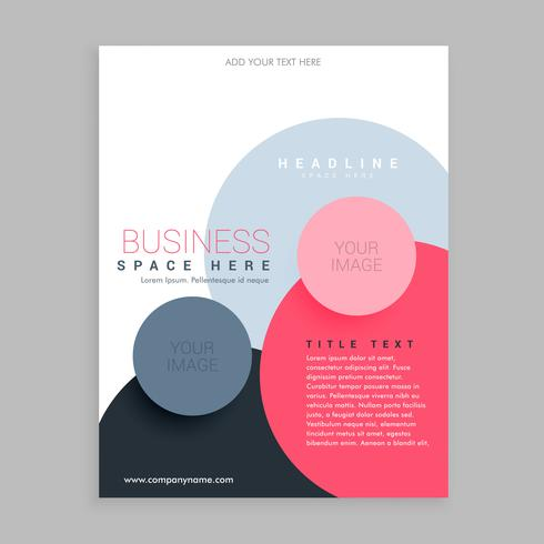 trendy circles pink brochure flyer design template in size A4