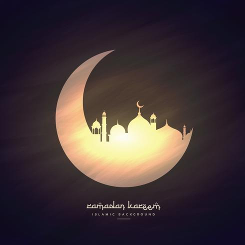 moon and mosque ramadan kareem background