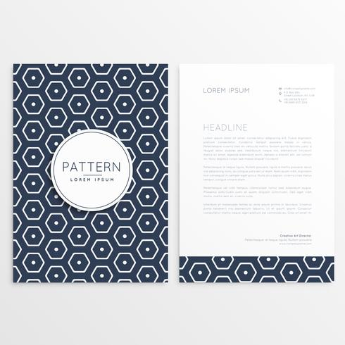 stylish letterhead design with hexagonal pattern