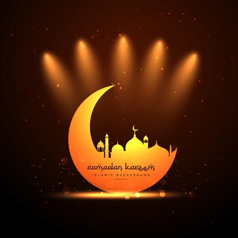 glowing mosque and moon background