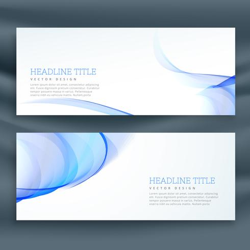 blue wavy banners on white background