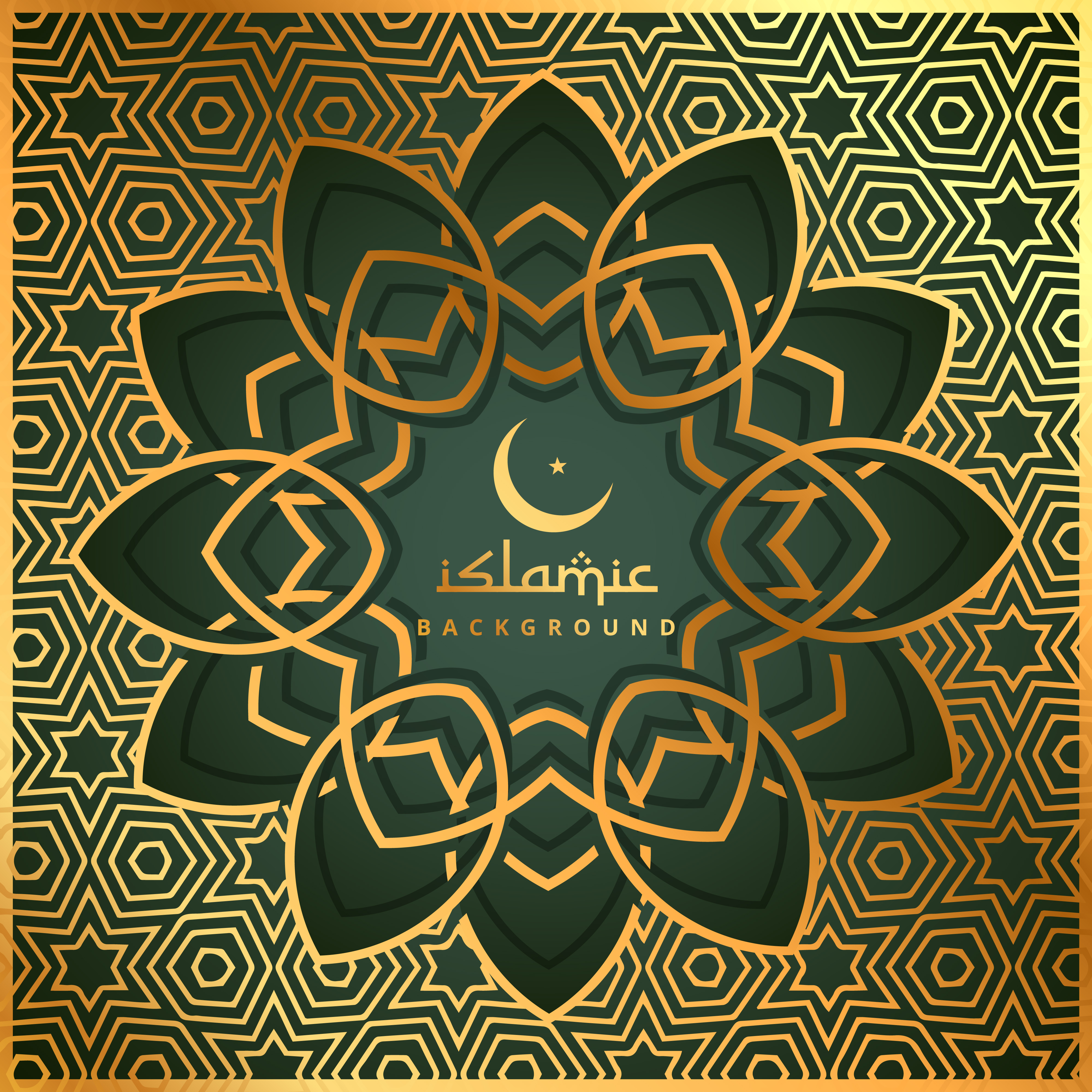 Arabic Book Cover Design Vector : Islamic shape background with golden pattern download