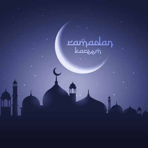 shining moon with mosque eid festival greeting