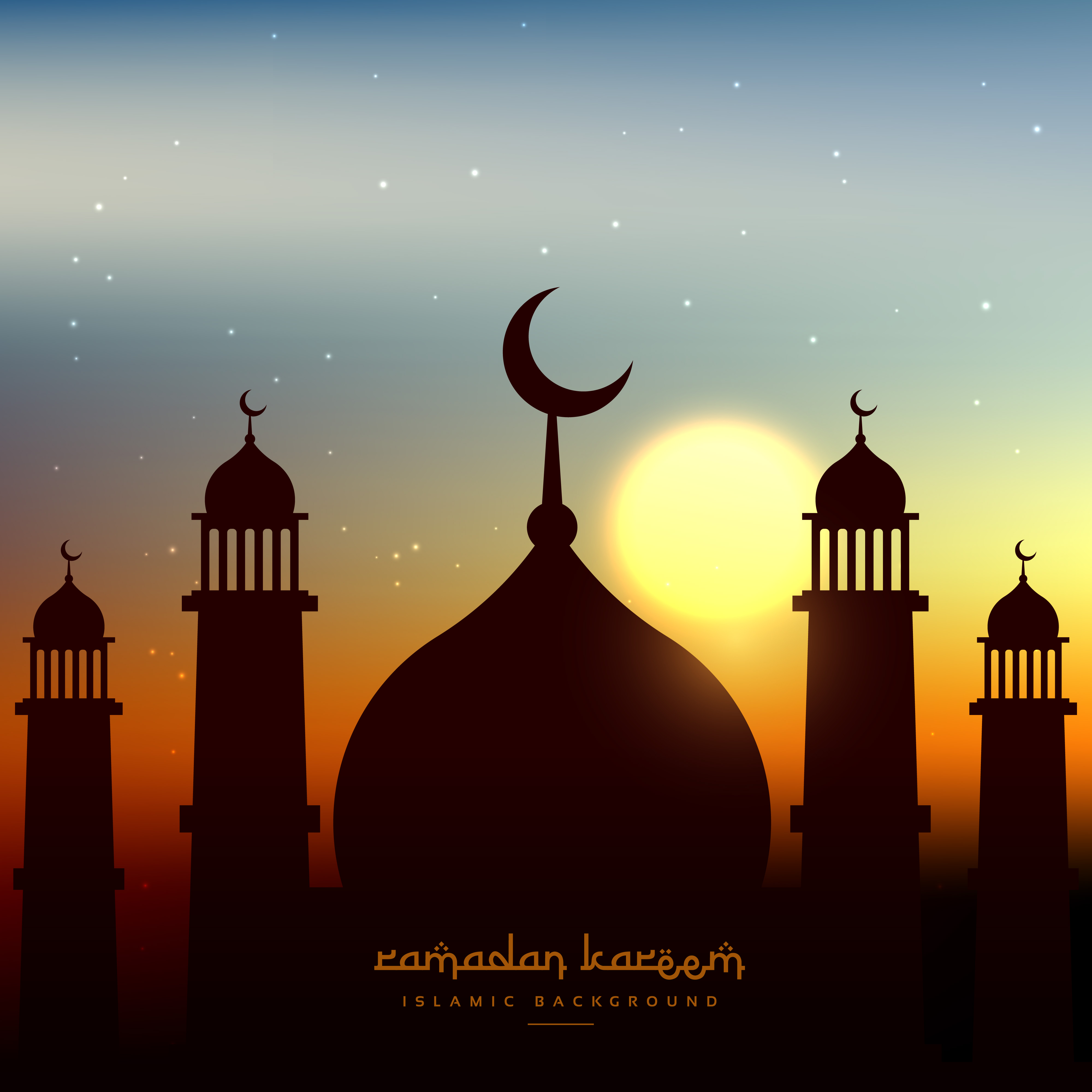 Mosque Shape In Evening Sky With Sun