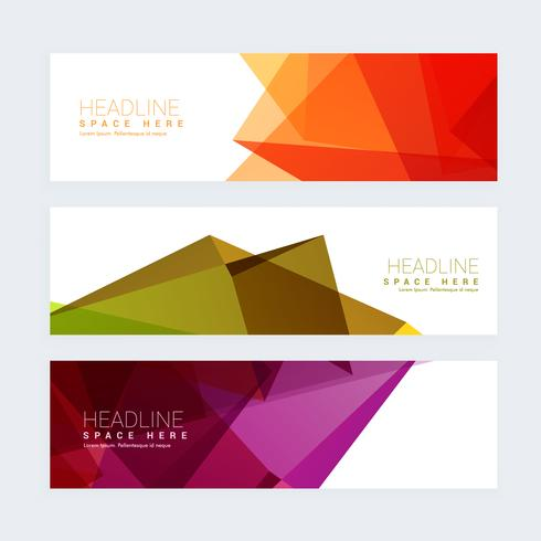 colorful geometric set of three headers