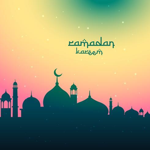 färgglada ramadan kareem festival hälsning