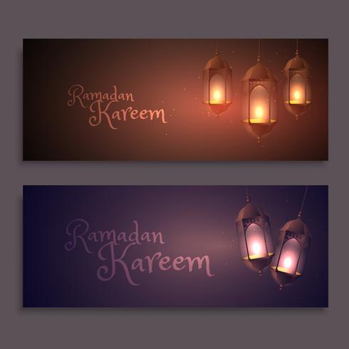 ramadan kareem banners with hanging lamps