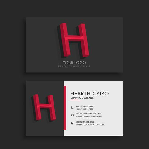 clean dark business card with letter H